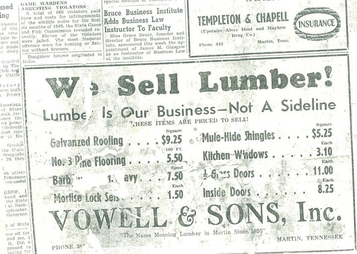 1949 Vowell Ad